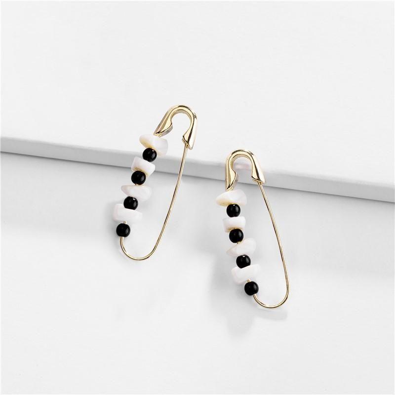 Earrings, copper ear wire, back pin, natural shell, female earrings NHLU174091