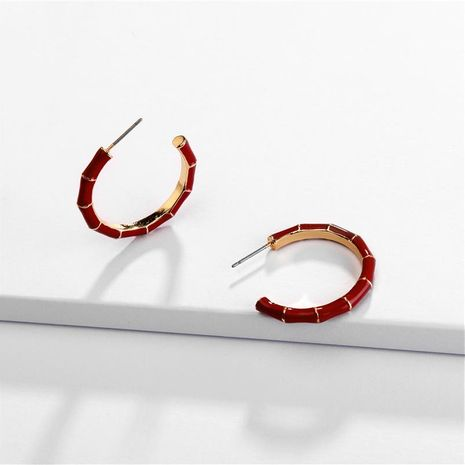 Alloy C-shaped bamboo color drop oil female earrings new earrings NHLU174096's discount tags