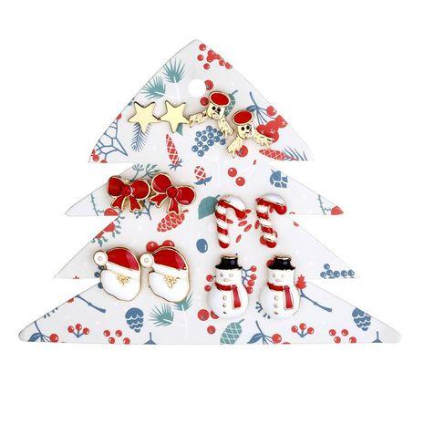 Earrings jewelry Santa snowman bow deer earrings 6 pairs NHLU174097's discount tags