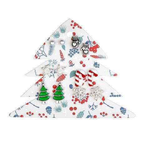 Earrings jewelry Santa Claus gloves tree gloves snowflake earrings 6 pairs NHLU174098's discount tags