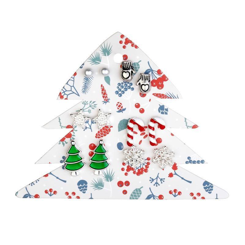 Earrings jewelry Santa Claus gloves tree gloves snowflake earrings 6 pairs NHLU174098