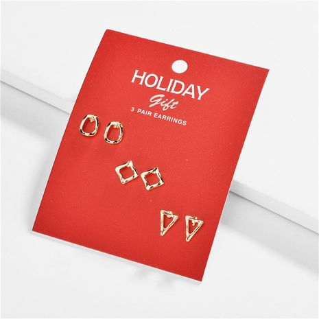 Alloy triangle diamond Christmas gift three to one card with card female earrings set NHLU174105's discount tags