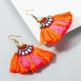 Fan-shaped tassel earrings female bohemian vintage earrings NHLN173953's discount tags