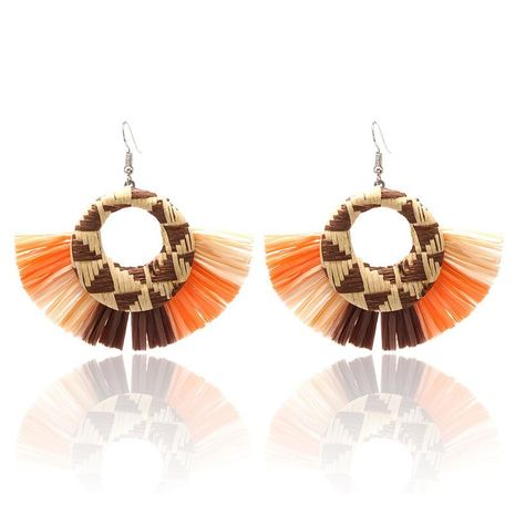 Creative new fan-shaped Raffia earrings color matching simple Bohemian holiday earrings NHPF173968's discount tags