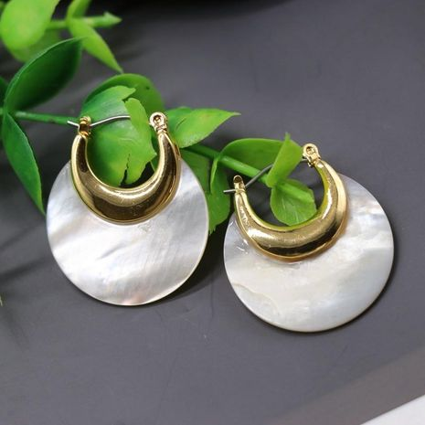 Stud Earrings Copper Pieces Phnom Penh White Shell Stud Earrings Crescent Moon Stud Earrings NHOM174129's discount tags