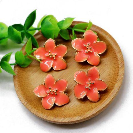 Ear clips orange flowers 925 silver needle ear stud ear clip flower earrings NHOM174130's discount tags