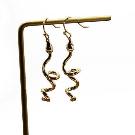Golden Spiral Serpentine Pendant Earrings Animal Styling Earrings Zodiac Snake Earrings NHOM174134's discount tags