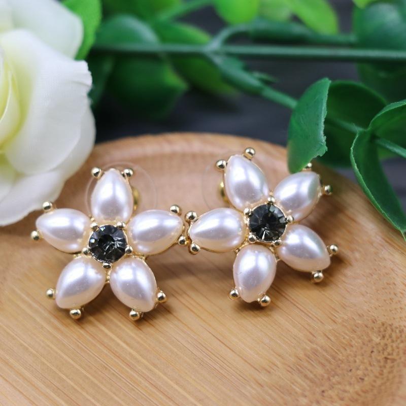 Stud Earrings Flower Shaped Pearl Diamond 925 Silver Needle Ear Stud Ear Clip Flower NHOM174133
