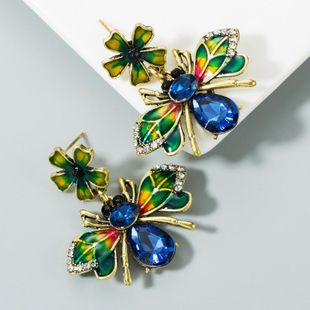 New alloy drop oil and diamond flower bee animal earrings female color earrings NHLN173949's discount tags