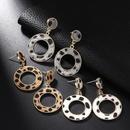 Suede Leopard Print Circle Cutout Earrings Women Fashion Trend Stud Earrings NHPF173970