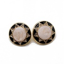 Stud earrings round drop oil 925 silver needle ear stud ear clip flower type small drill NHOM174111
