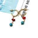 Copper plating 14k earrings turquoise red turquoise short earrings ear clip ear studs NHOM174127