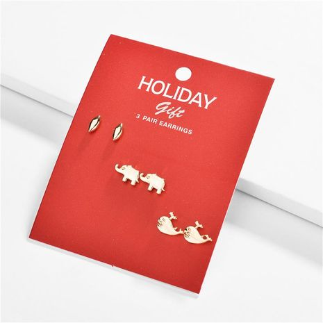 Alloy Elephant Dolphin Christmas Gift Three-to-One Card Card Stud Earring Set NHLU156069's discount tags