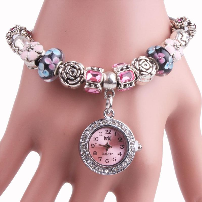 Fashion Beaded Artificial Gemstone Bracelet Watch NHMM156091