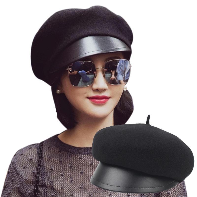 Korean fashion trend black simple wild leather 檐 painter hat NHXO156094