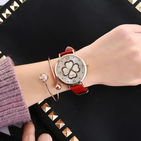 Fashion four-leaf clover female digital rivet scale tree pattern belt watch NHHK156127's discount tags