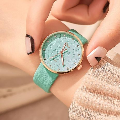 Fashion temperament ultra-thin diamond heart surface casual belt watch NHSY156128's discount tags