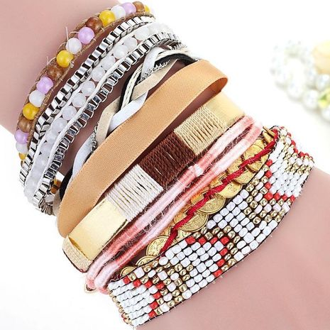 Fashion woven multi-layer mixed color versatile bracelet NHMM156130's discount tags