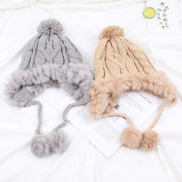 Korean version of sweet and lovely rabbit hair ball plus velvet knit hat NHXO156144