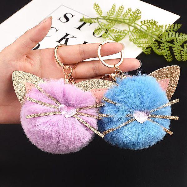Cute kitten hair ball keychain NHCB156162