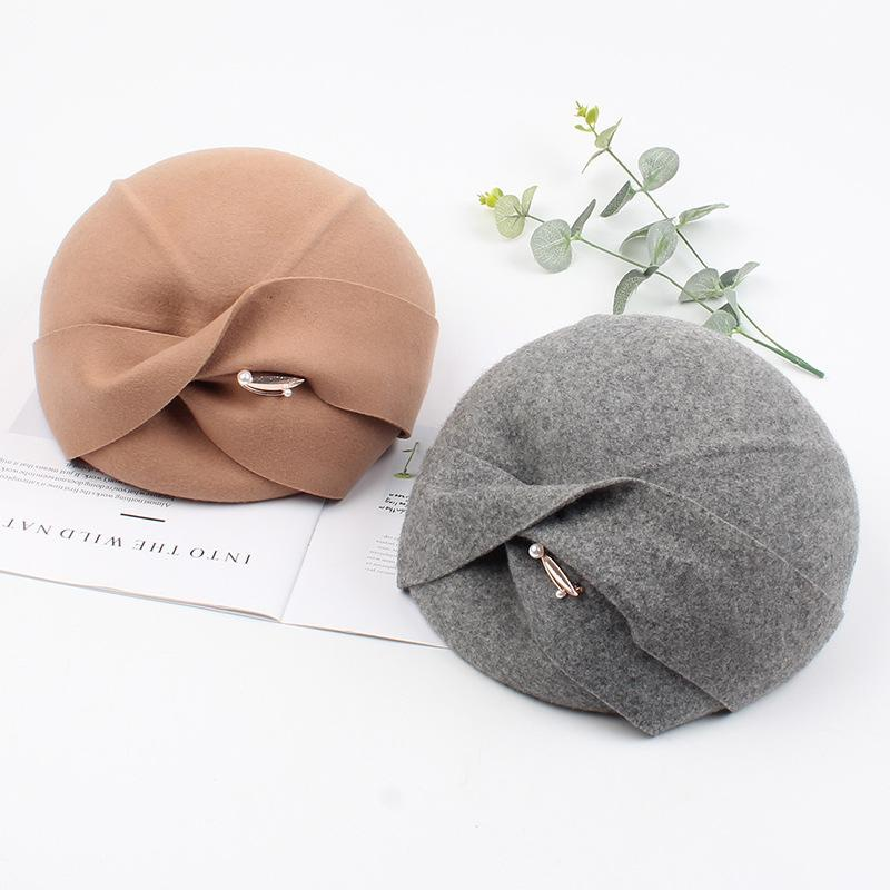 Korean fashion bow felt hat NHXO156168