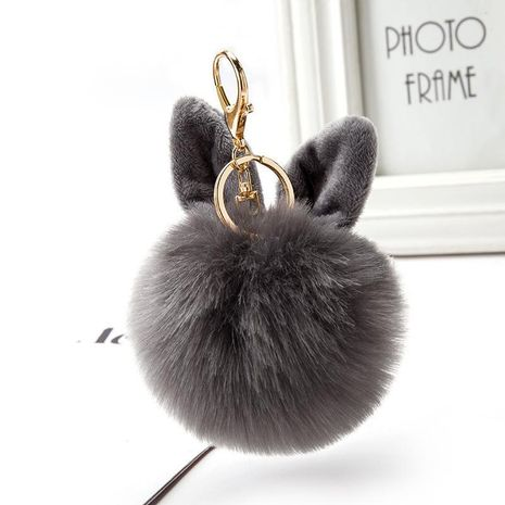 Fashion cute rabbit ear hair ball keychain NHCB156181's discount tags