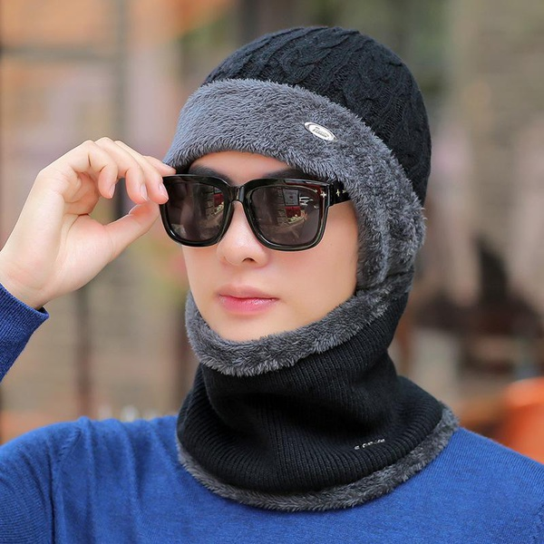 Joker warm knitted wool hat and velvet thickened cold bib NHXO156190