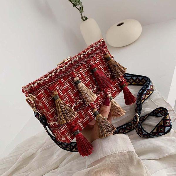 Fashion wide shoulder ethnic wind braided chain bucket bag NHPB156354