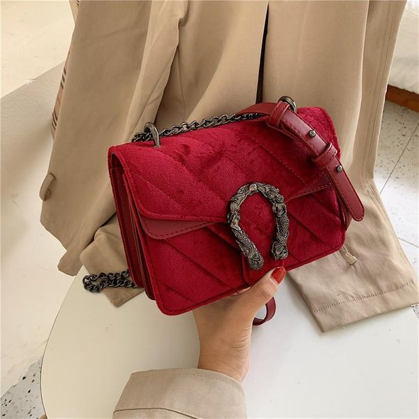 Fashion embroidery thread lock single shoulder diagonal small square bag NHPB156364