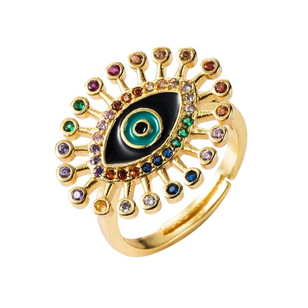 Unisex Eye Zircon Copper Rings NHLN156380
