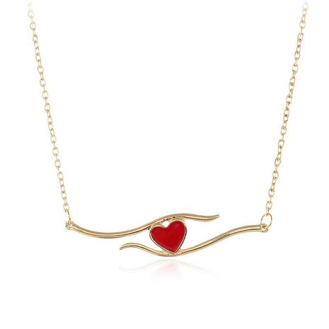 European and American fashion love oil painting oil alloy necklace NHKQ156425's discount tags