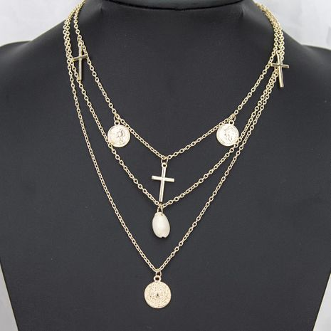 Fashion Creative Alloy Disc Cross Shell Necklace NHBQ156436's discount tags
