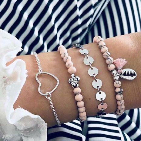 Vintage Love Tassel Pendant Beaded Shell Bracelet NHKQ156448's discount tags