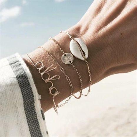 European and American popular ocean wind geometric modeling bracelet set NHKQ156460's discount tags