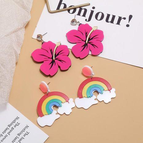 Fashion Vintage Rainbow Contrast Acrylic Earrings NHKQ156477's discount tags