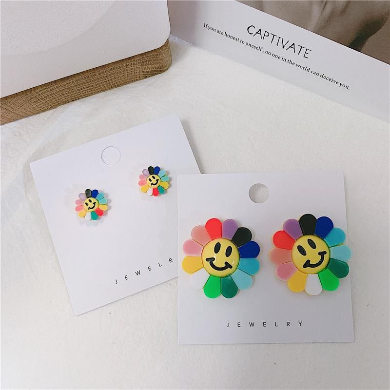 Rainbow color sweet cute sun flower acrylic earrings NHYQ156484