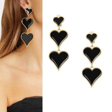 Fashion three-layer gradient size drop oil love earrings NHYQ156520's discount tags