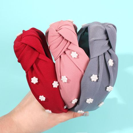Fashion texture fabric with pearl flower headband NHMD156537's discount tags