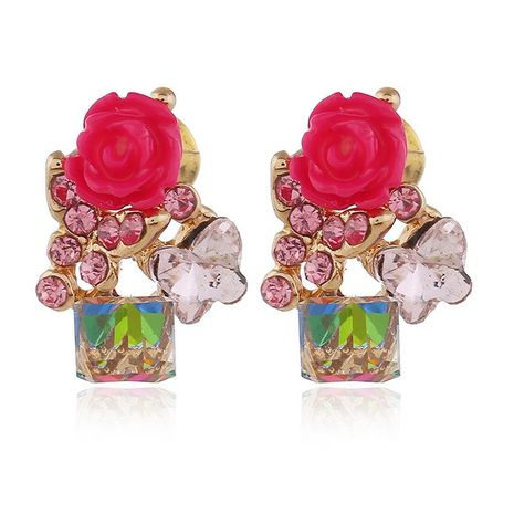 Womens Floral Paint Alloy Earrings NHKQ156546's discount tags