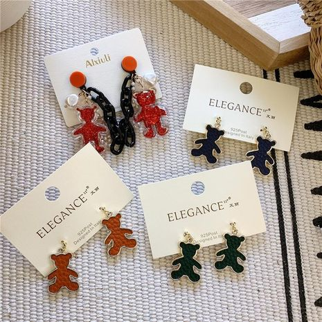 Fashion alloy inlay PU leather bear earrings NHYQ156548's discount tags