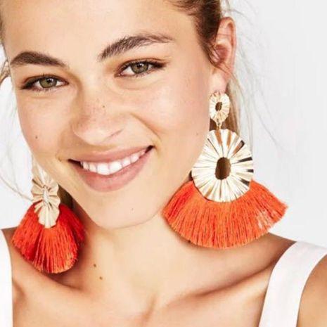 Alloy corrugated tassel earrings NHJE156565's discount tags