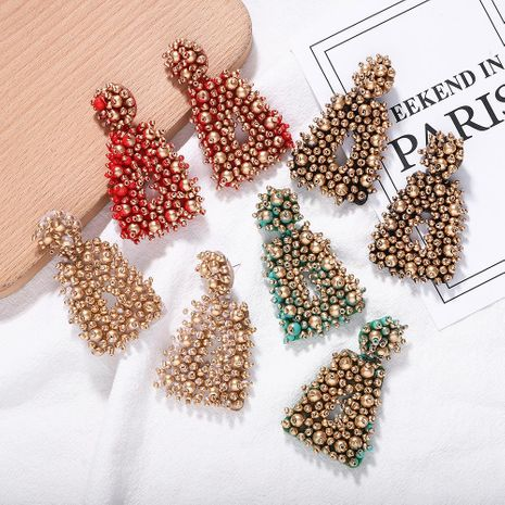 Square colored beads woven earrings NHJQ156571's discount tags