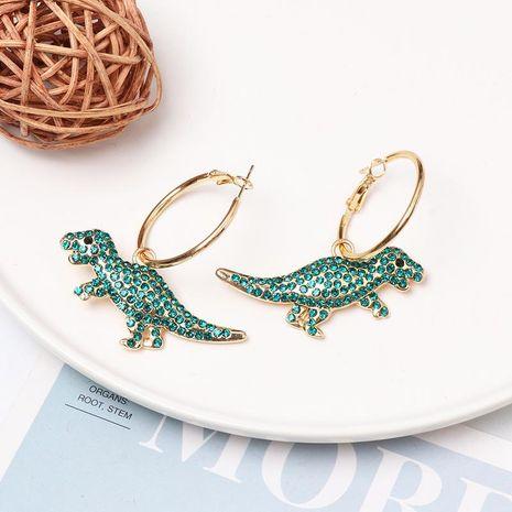 Micro inlaid zircon green dinosaur hoop earrings NHJJ156574's discount tags