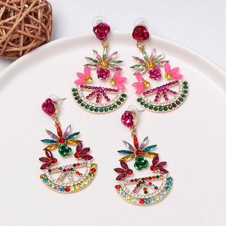 New retro geometric color diamond inlaid earrings NHJJ156577's discount tags