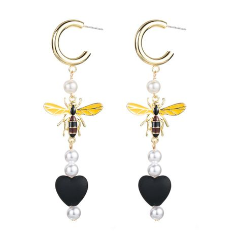 Pearl bee fringed heart shaped earrings NHLN156578's discount tags