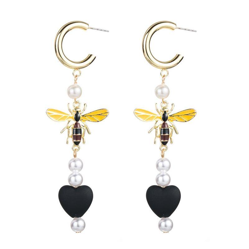 Pearl bee fringed heart shaped earrings NHLN156578