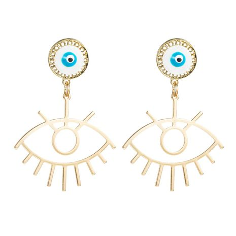 Golden Alloy Devil's Eye Stud Earrings NHLN156593's discount tags
