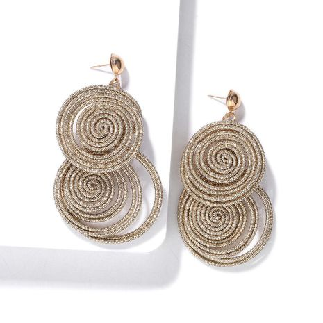 Hand-woven large circle stitching earrings NHJQ156594's discount tags