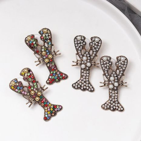 New vintage lobster color diamond stud earrings NHJJ156597's discount tags