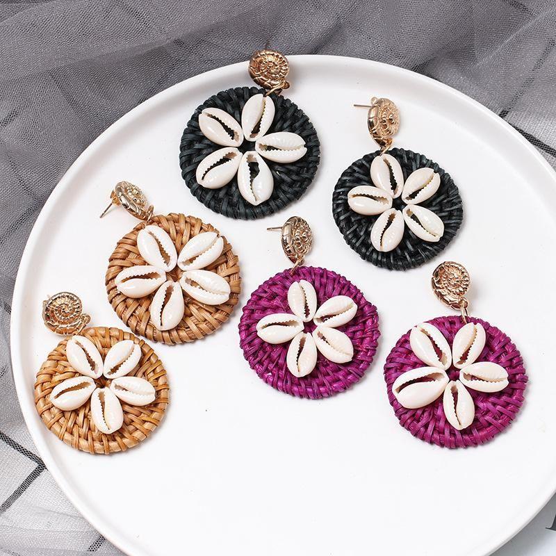 Natural shell straw earrings NHJJ156598